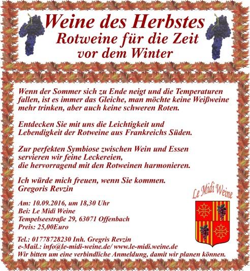 Unsere n�chstes Wein-Event, bei Le midi weine in Offenbach