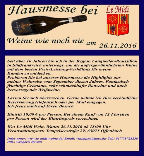 Unsere nächstes Wein-Event, bei Le midi weine in Offenbach